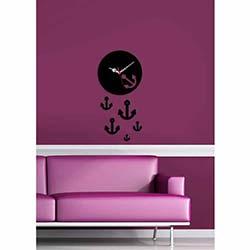 Küçük Boy Çapa Saat Siyah Dekoratif Kırılmaz Akrilik Saat
