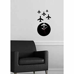 Küçük Boy Uçak Saat Siyah Dekoratif Kırılmaz Akrilik Saat
