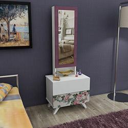House Line Siena Aynalı Takı Dolabı - Gülkurusu Çiçekli