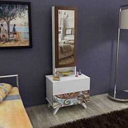 House Line Siena Aynalı Takı Dolabı - Kahve Desenli