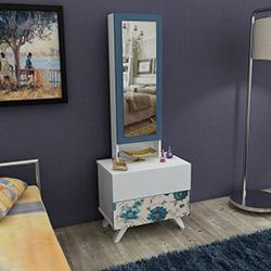 House Line Siena Aynalı Takı Dolabı - Mavi Çiçekli