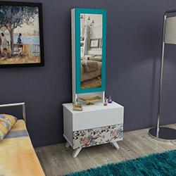 House Line Siena Aynalı Takı Dolabı - Kahve Çiçekli