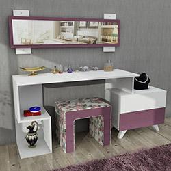 House Line Felicia Puflu Aynalı Makyaj Masası - Gulkurusu Çiçekli
