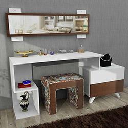 House Line Felicia Puflu Aynalı Makyaj Masası - Kahve Desenli