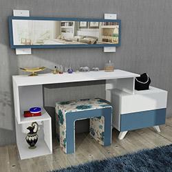 House Line Felicia Puflu Aynalı Makyaj Masası - Mavi Çiçekli