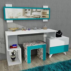 House Line Felicia Puflu Aynalı Makyaj Masası - Kahve Çiçekli