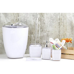 Simple Living 5'li Akrilik Banyo Seti - Beyaz