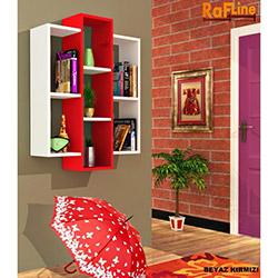 Rafline Solid Duvar Rafı - Beyaz / Kırmızı