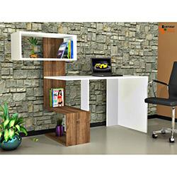 Rafline Vellute Çalışma Masası - Beyaz / Ceviz