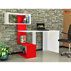 Rafline Vellute Çalışma Masası - Beyaz / Kırmızı