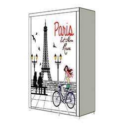 Prado Yandan Raflı Baskılı Bez Dolap - Paris