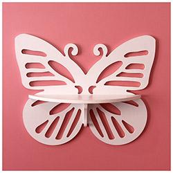 Prado Kelebek Tasarım Duvar Rafı - Beyaz