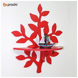 Prado Ağaç Tasarım Duvar Rafı - Kırmızı
