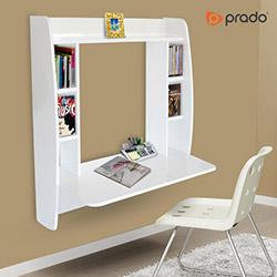 Prado Kitaplık Raflı Asma Çalışma Masası - Beyaz