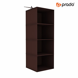 Prado Tela 4 Katlı Dolap Düzenleyici Organizer - Kahverengi