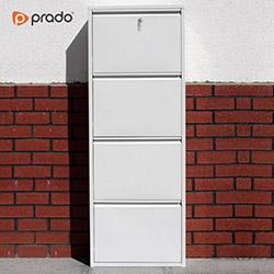 Prado Kilitli Dikey 4'lü Metal Ayakkabılık - Beyaz