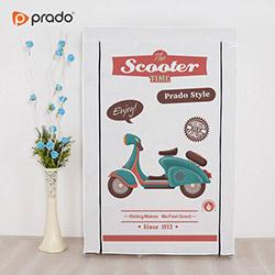 Prado Elit Yandan Raflı Scooter Portatif Bez Dolap - Beyaz
