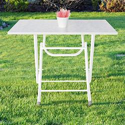 Prado Çiçek Desenli Katlanır Masa (60x90 cm) - Beyaz