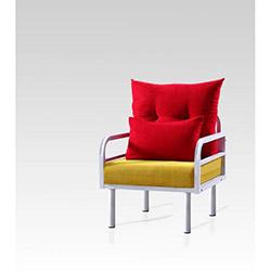 Hira Tekli Koltuk - Kırmızı / Sarı