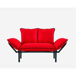 Doğa Siyah Ayaklı 2'li Kanepe - Kırmızı