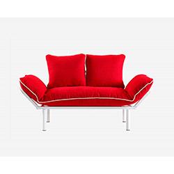 Doğa Beyaz Ayaklı 2'li Kanepe - Kırmızı