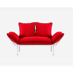 Doğa Beyaz Ayaklı 2'li Kanepe - Kırmızı / Siyah