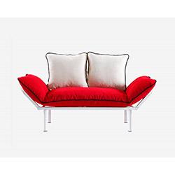 Doğa Beyaz Ayaklı 2'li Kanepe - Kırmızı / Beyaz