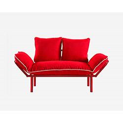 Doğa Kırmızı Ayaklı 2'li Kanepe - Kırmızı / Beyaz