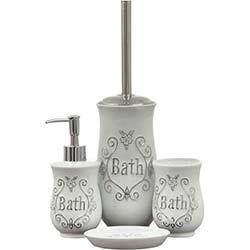 İhouse 49907 4'lü Porselen Banyo Seti - Beyaz