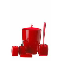 Karin Akrilik Kovalı 5'li Banyo Seti - Kırmızı