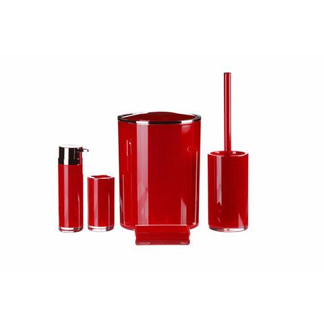 iHouse 1019KR Akrilik 5'li Banyo Seti - Kırmızı