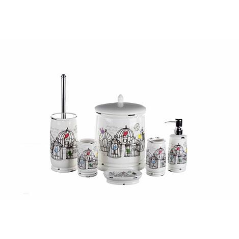 İhouse KH1481 Porselen 6'lı Banyo Seti - Krem