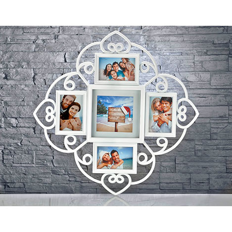 iHouse Res09 5'li Resim Çerçevesi (Beyaz) - 64x64 cm