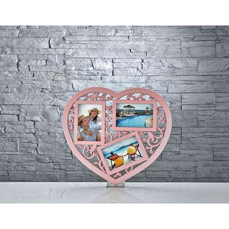 iHouse Res11 3'lü Resim Çerçevesi (Pembe) - 42x35 cm