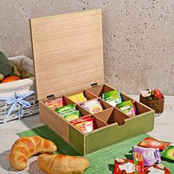 İhouse Kapaklı Çay Saklama Kutusu (Yeşil) - 24x24 cm