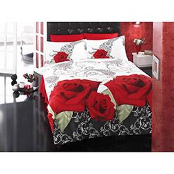 Aran Clasy Floral V1 Çift Kişilik Ranforce Uyku Seti - Kırmızı