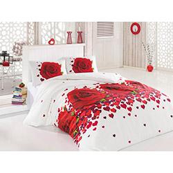 Pink House Love Rose Çift Kişilik Nevresim Takımı - Beyaz