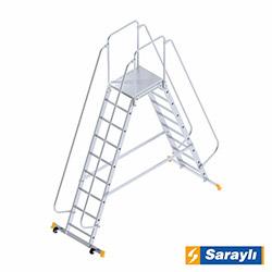 Saraylı Çift Yönlü Korkuluklu Platform Merdiven - 2.25 m