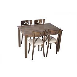 Sepia Lale Tonet Sandalye Masa Takımı (80x120 cm) - Ceviz / Krem