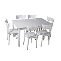 Sepia Tonet Sandalye Takımı Masa Takımı (90x140 cm) - Beyaz