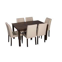 Sepia Quadro Sandalye Masa Takımı (90x140 cm) - Ceviz / Krem