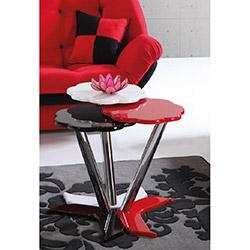 Papatya 3'lü Zigon Sehpa - Beyaz / Kırmızı / Siyah