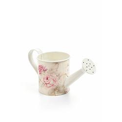 DecoTown Metal Çiçek Desenli Oval Sulama Kabı - Beyaz