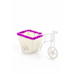 DecoTown Bisiklet Motifli Şeritli  Sepet - Pembe
