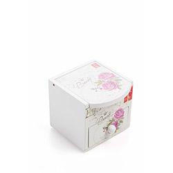 DecoTown Flower Ahşap Kutu - Beyaz