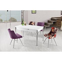 House Line Power Masa ve Duru Sandalye Takımı - Beyaz / Renkli