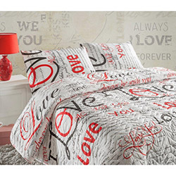Eponj Home Ep-004168 Love Forewer Kapitone Çift Kişilik Yatak Örtüsü Seti - Beyaz