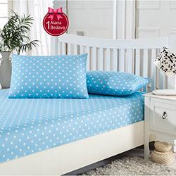 Eponj Home Puantiye Çift Kişilik Lastikli Çarşaf Seti (1 Alana 1 Bedava) - Mavi