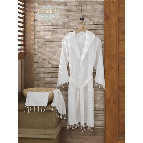 Eponj Home Sultan S/M Peşkir Bornoz Seti - Beyaz