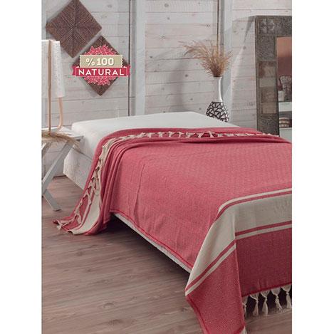 Eponj Home Natural Elmas Çift Kişilik Yatak Örtüsü - Kırmızı
